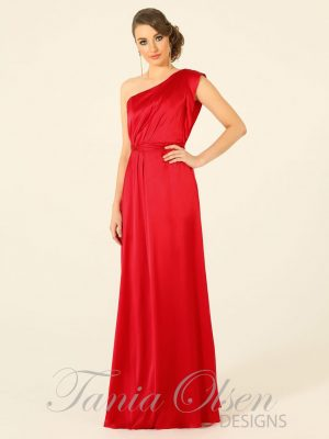 Silk one shoulder Red evening dress