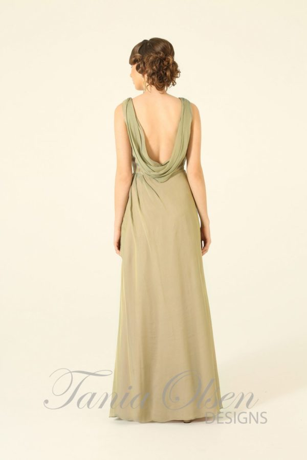 Beige Cowl Neck Evening Dress