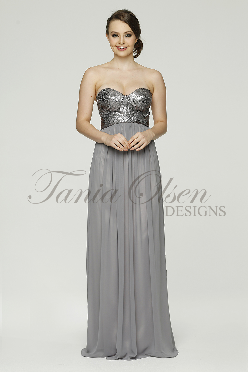 Azaria Bridesmaid dress TO43 grey