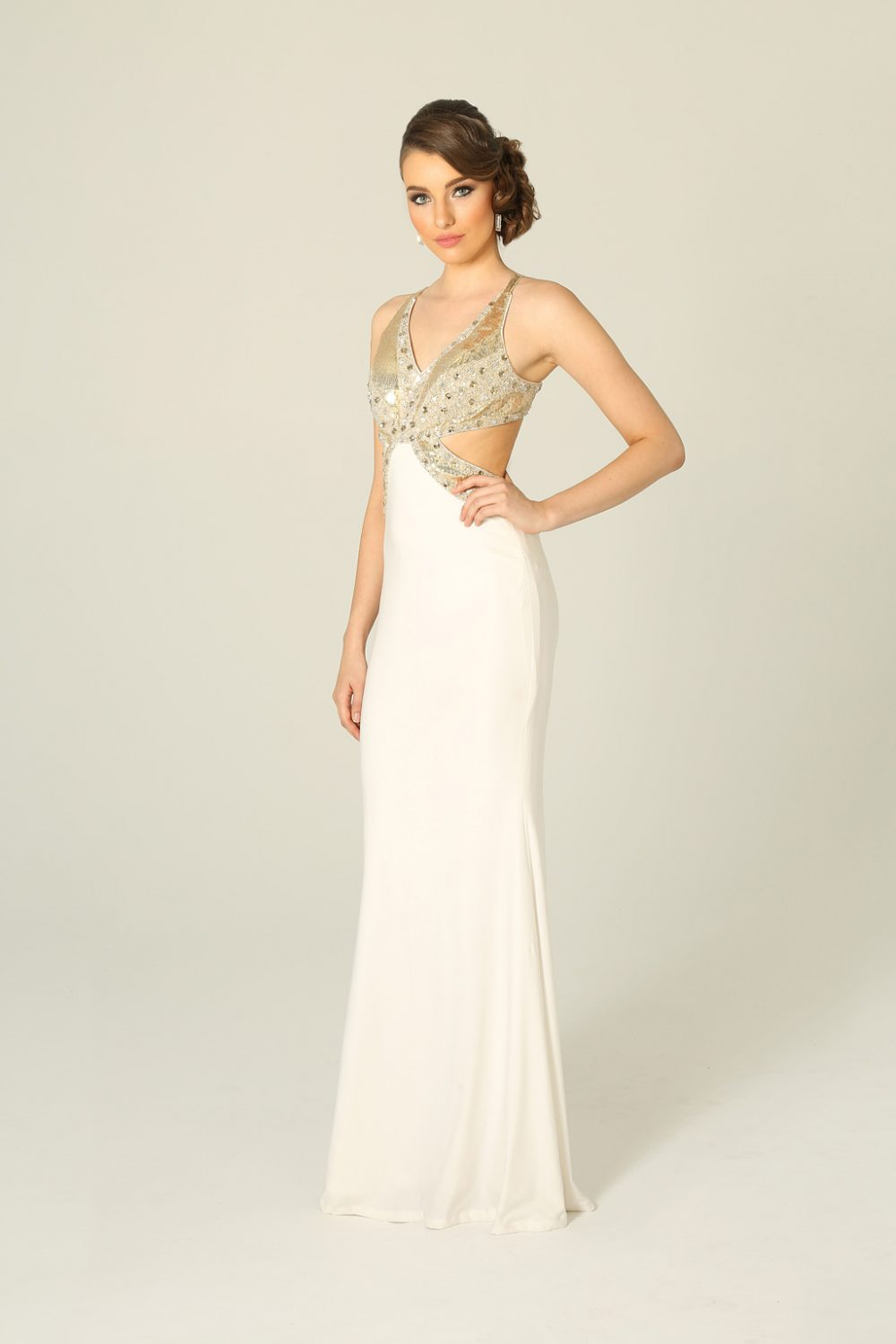 Gold And White Fitted Beaded Formal Dress