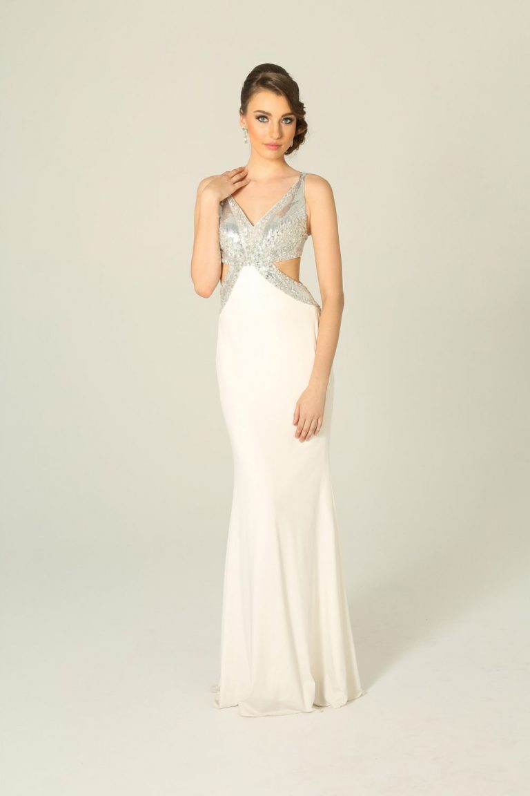 Silver And White Fitted Beaded Formal Dress