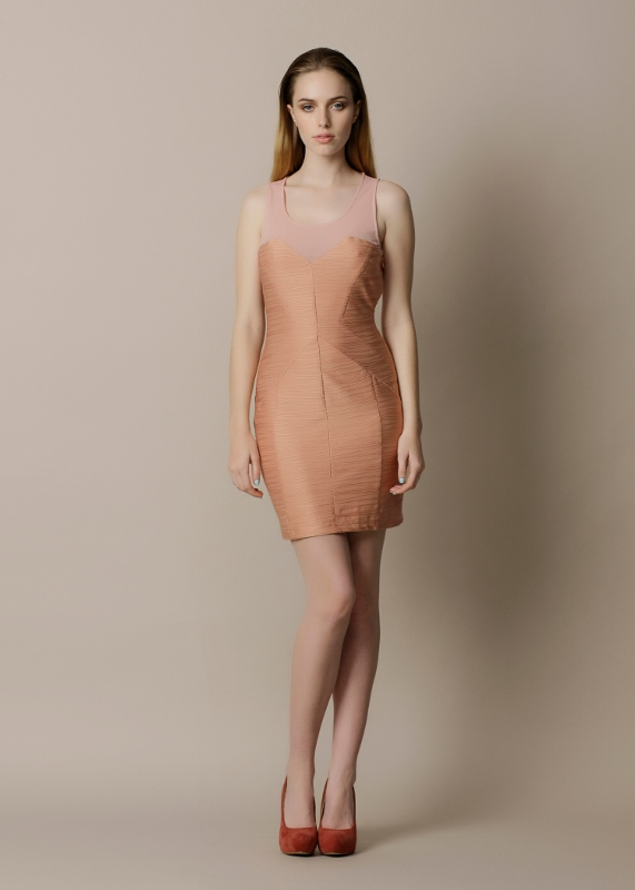 Peach Panelled Cocktail Dress - Sentani Boutique Bridal, Formal And Evening Dresses Fashion Store