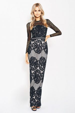 Carol long sleeve lace formal dress F