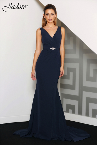 J8037 V neck evening dress Navy