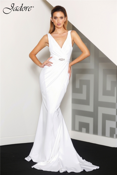 J8037 V neck evening dress ivory