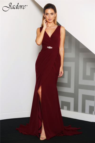 J8037 V neck evening dress wine