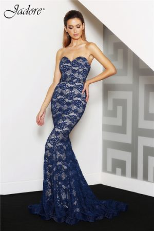 J8087 Sweetheart lace formal dress navy