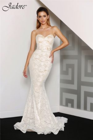 J8087 Sweetheart strapless lace formal dress ivory