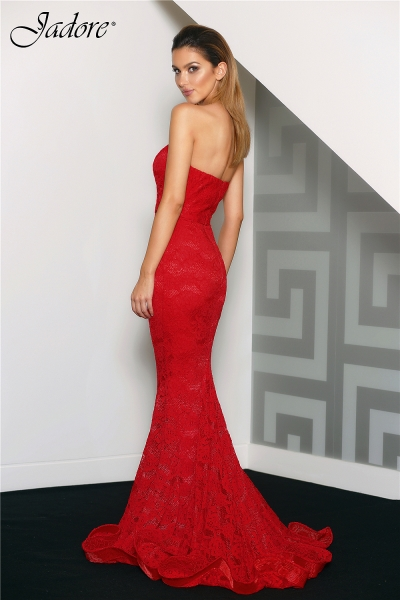 J8087 Sweetheart strapless lace formal dress red