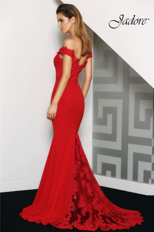 Jade Red Evening Dress Back