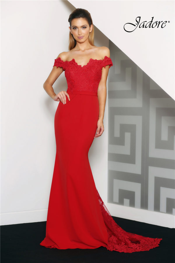 Jade Red Evening Dress Front