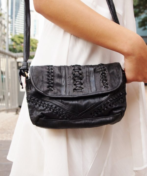 Small black leather bag