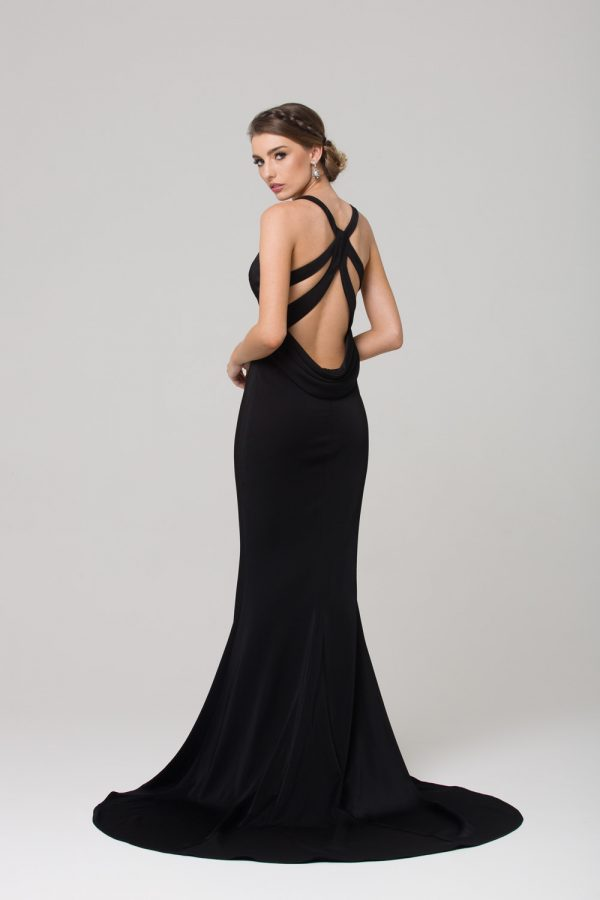 PO585 Makena low back fitted formal dress BLACK back