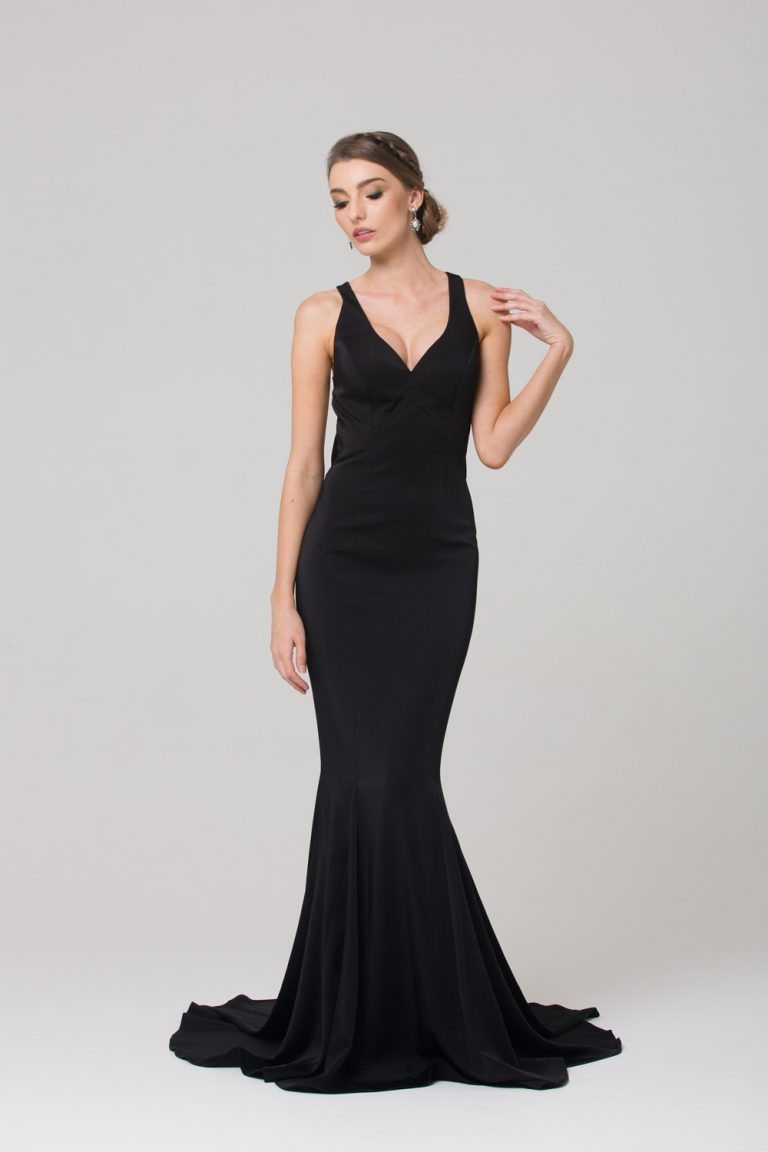 Makena low back fitted formal dress