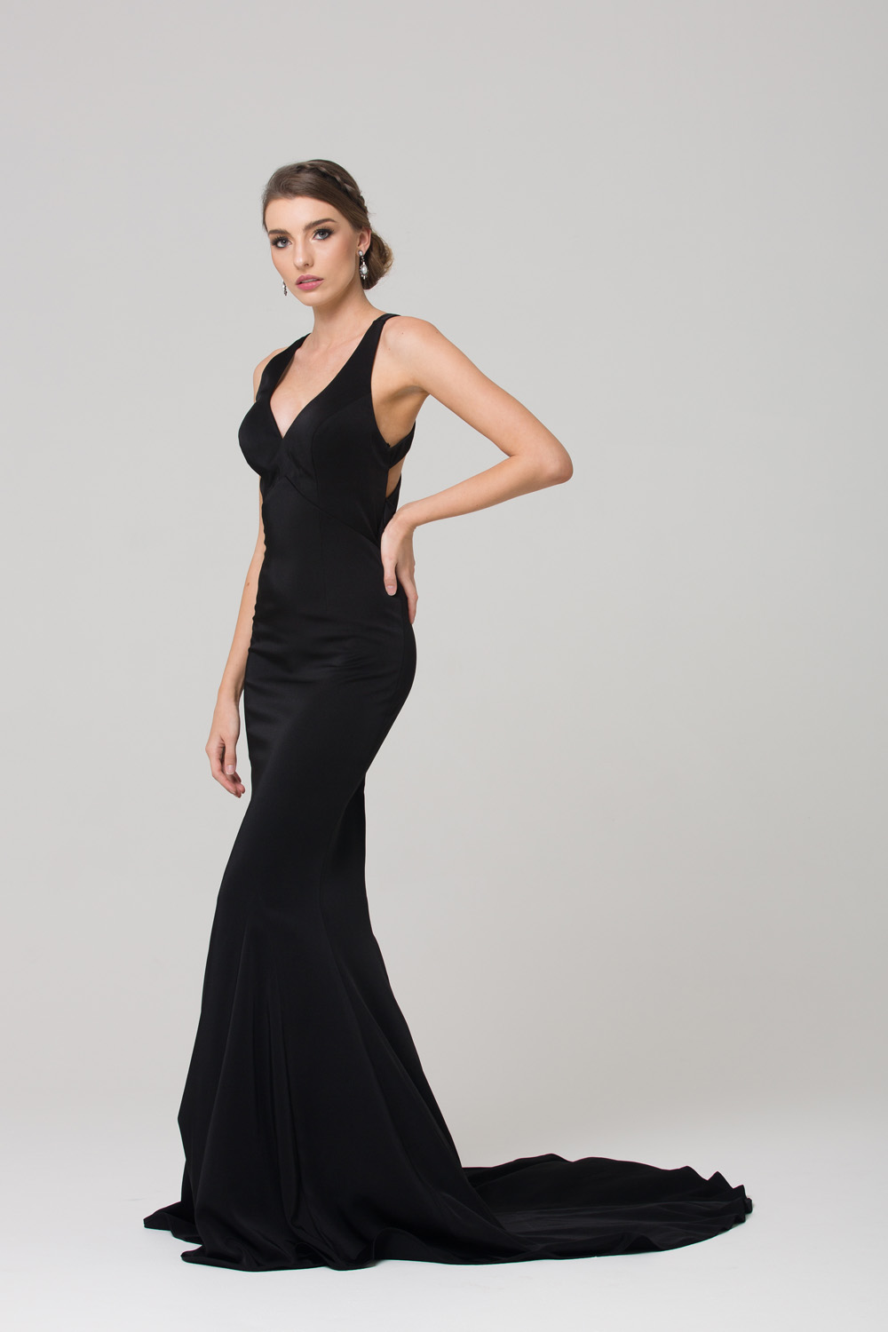 PO585 Makena low back fitted formal dress BLACK SIDE