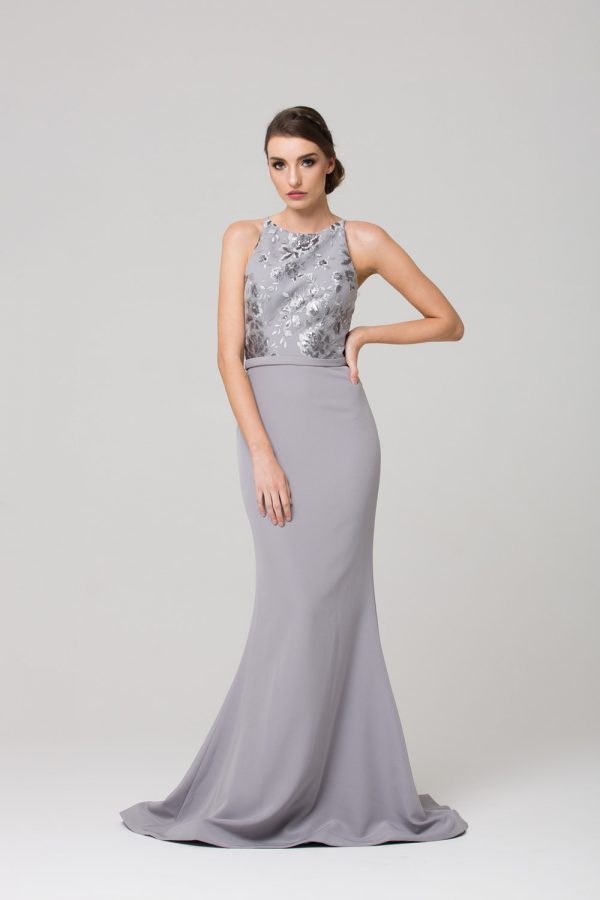 PO587 Eden Bridesmaid dress GREY FRONT