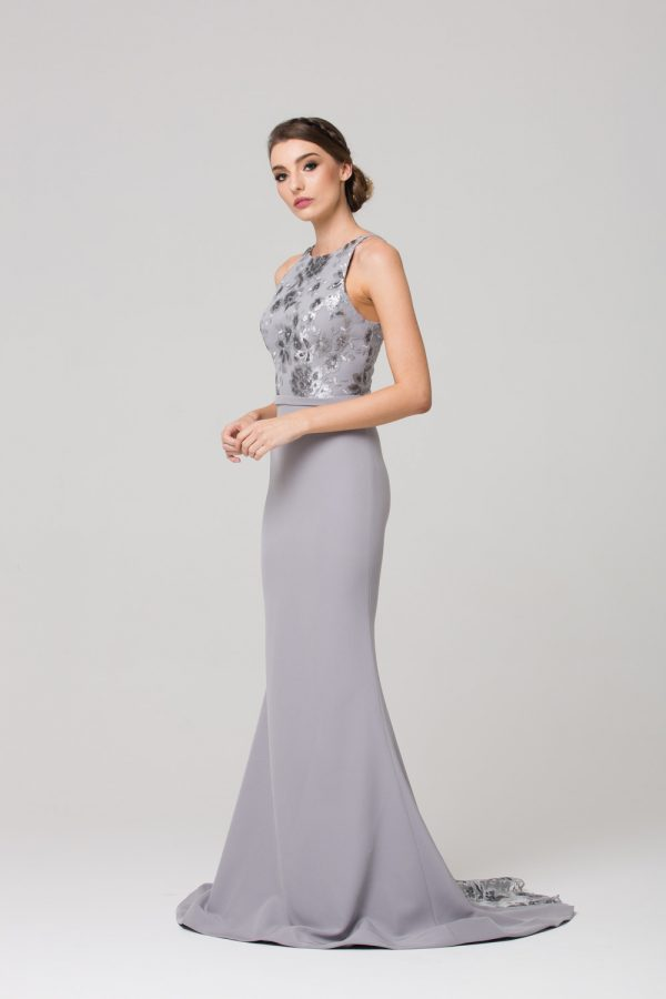 PO587 Eden high neck Bridesmaid dress GREY SIDE