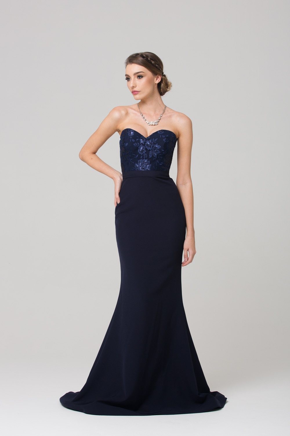 Paloma fitted strapless bridesmaid dress front