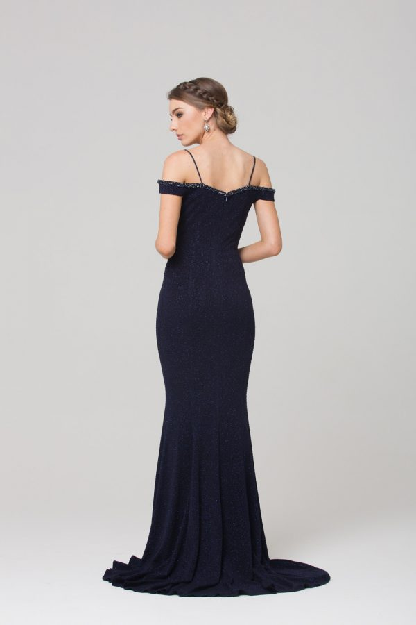 PO590 Alicia beaded off the shoulder Evening dress NAVY back
