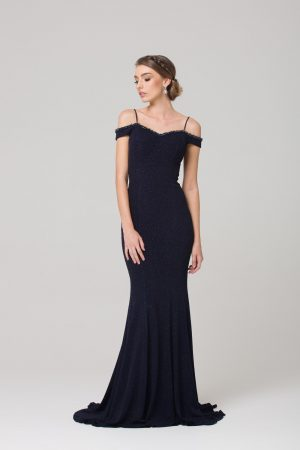 PO590 Alicia beaded wide shoulder Evening dress NAVY FRONT
