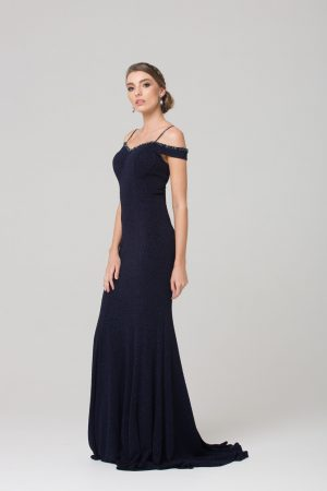 PO590 Alicia beaded off the shoulder Evening dress NAVY side