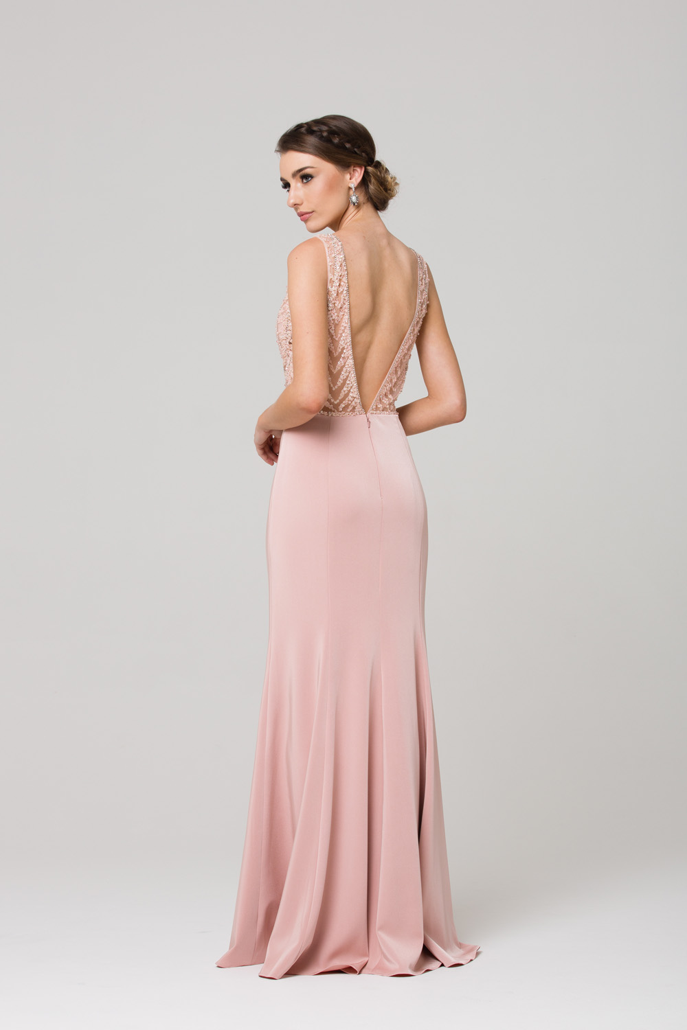 PO591 Zaylee evening dress BLUSH BACK