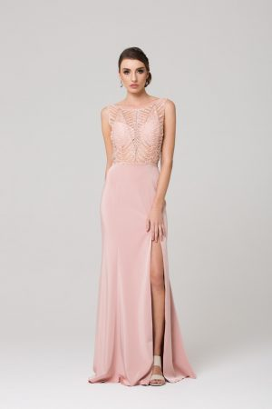 Zaylee beaded low back evening dress