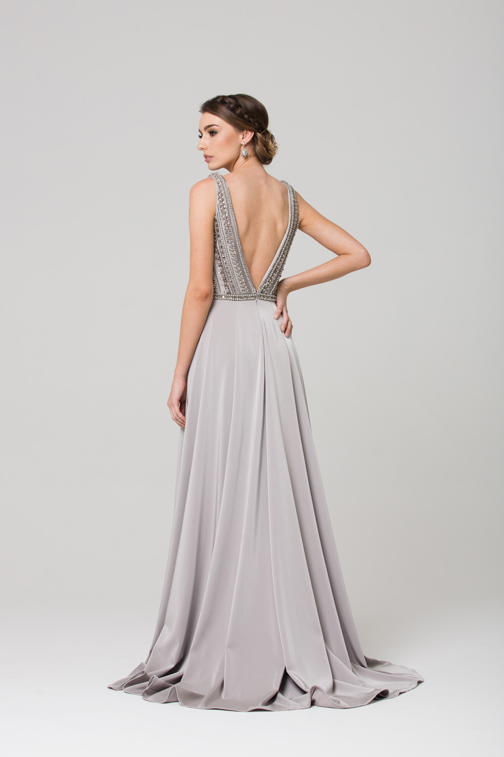 Addilyn V neck beaded evening dress grey