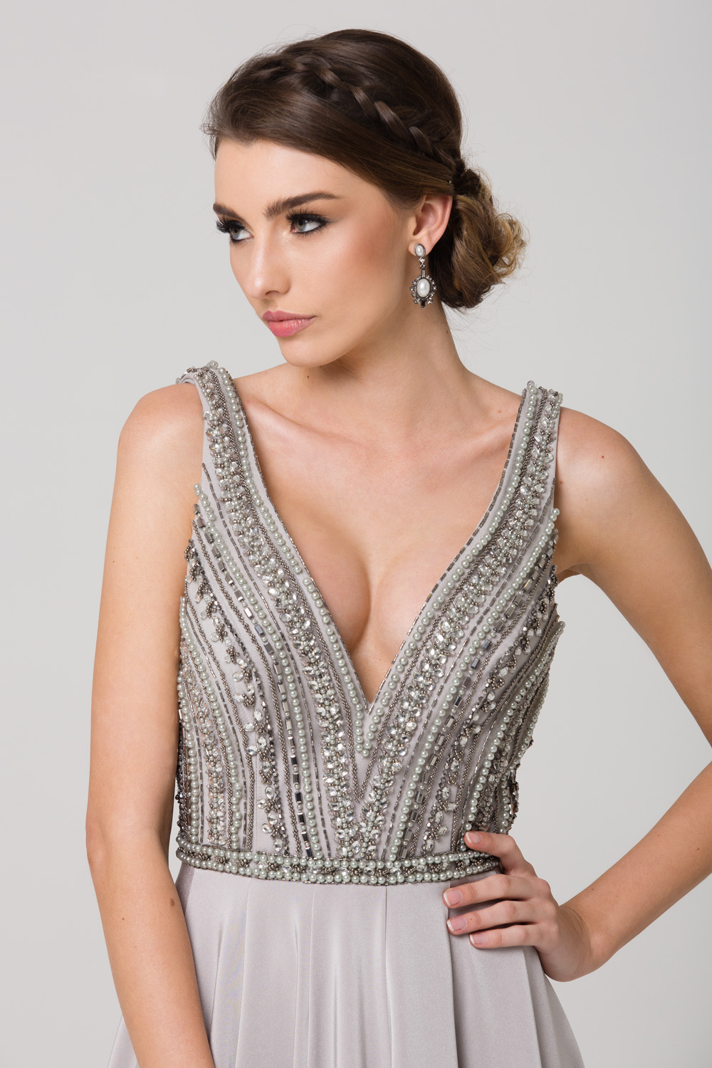 PO592 Addilyn Evening dress GREY CLOSE UP