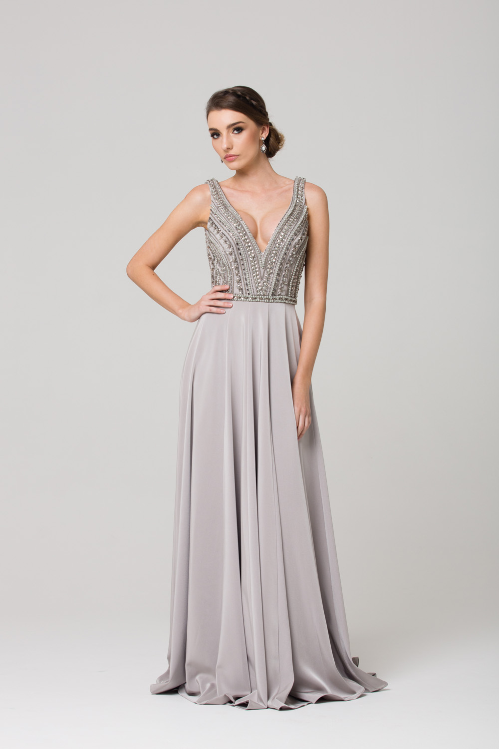 PO592 Addilyn Evening dress GREY FRONT