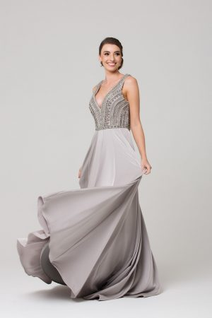 PO592 Addilyn Evening dress GREY FULL