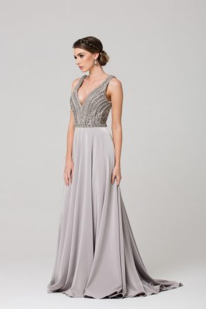 PO592 Addilyn V neck beaded Evening dress GREY SIDE