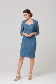 PO82 DUSTY BLUE Tabitha mother of the bride dress FRONT WITH BOLERO