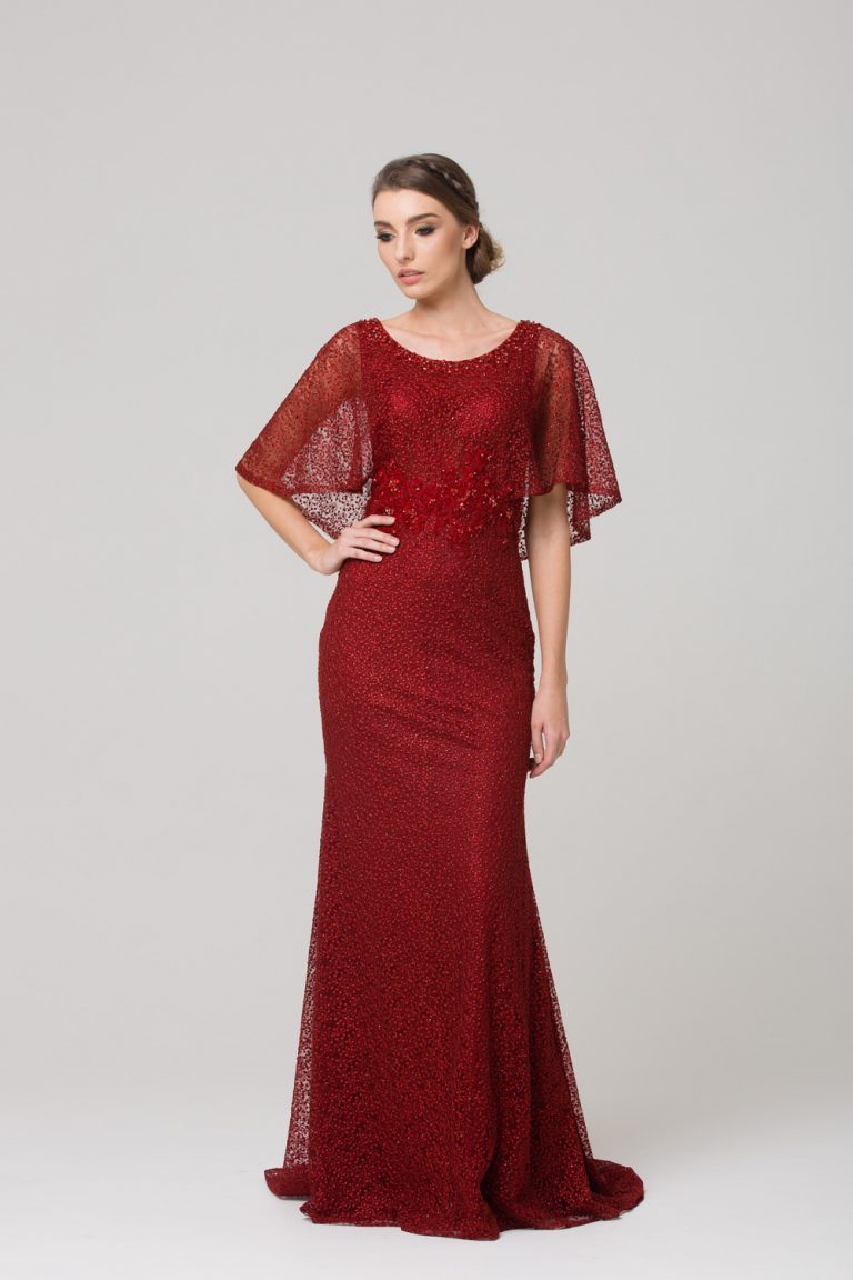 TC008 Carolyn embroidered evening dress CHERRY FRONT