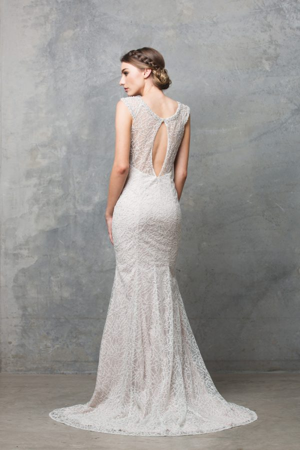 TC012 Kalisi embroidered lace back keyhole wedding dress CHAMPAGNE back