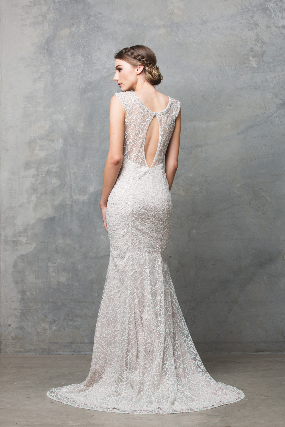 Tc012 Kalisi Embroidered Lace Back Keyhole Wedding Dress Chagne: Key Hole Wedding Dress At Reisefeber.org