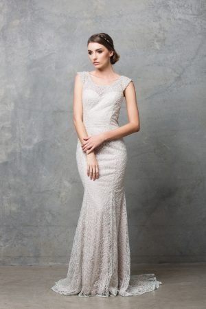 TC012 Kalisi embroidered lace back keyhole wedding dress CHAMPAGNE FRONT