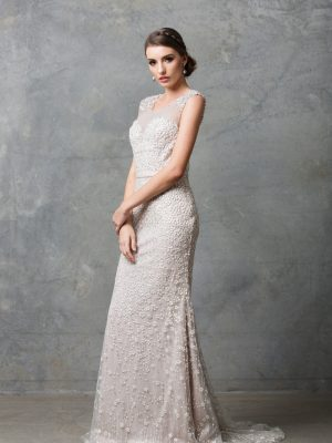 TC013 Tatiana beaded embroidered lace destination wedding dress CHAMPAGNE side