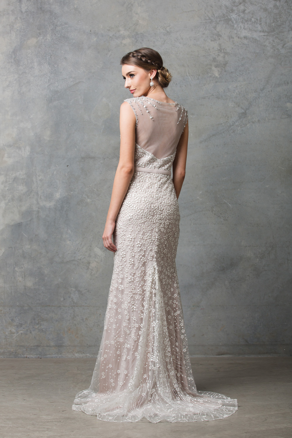 TC013 Tatiana beaded embroidered lace destination wedding dress CHAMPAGNE back