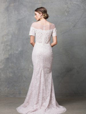 Milisandra lace off shoulder destination wedding dress back