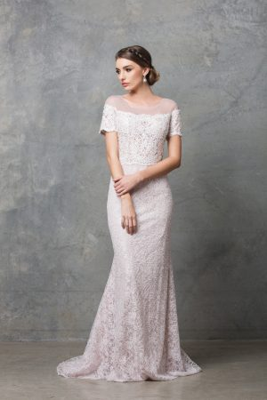 Milisandra lace off shoulder destination wedding dress