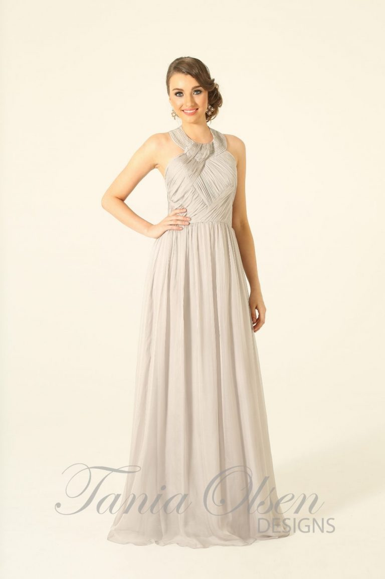 Grey silk romance bridesmaid dress