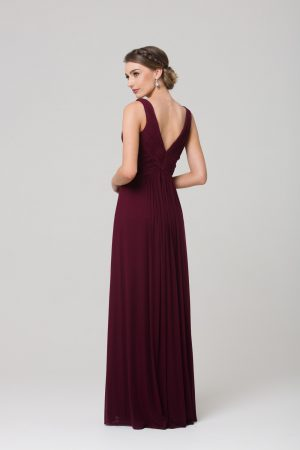 TO74 Amber Bridesmaids Dress WINE BACK