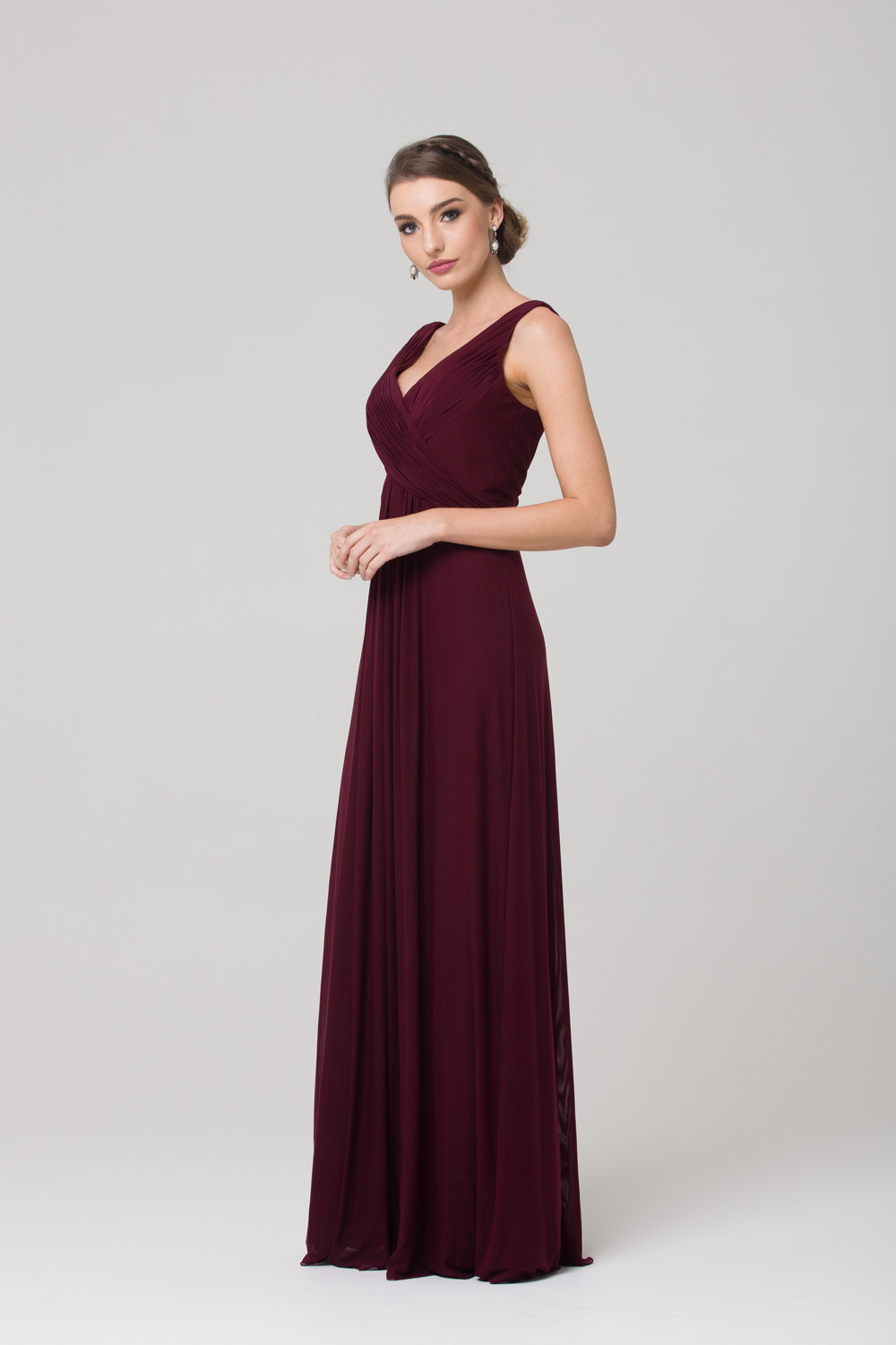 TO74 Amber Bridesmaids Dress WINE SIDE