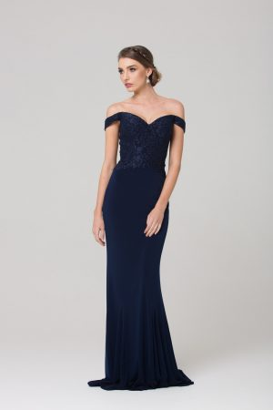 TO778 Jacqulyn off the shoulder bridesmaid dress NAVY FRONT