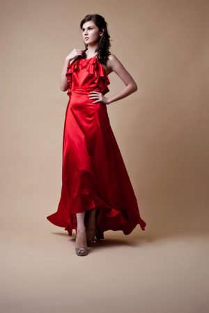 Red Ruffle Neck Evening Dress - Sentani Boutique Bridal, Formal And Evening Dresses Fashion Store