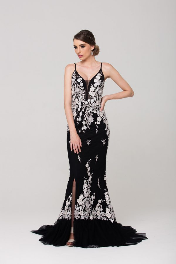 Allegra embroidered evening dress