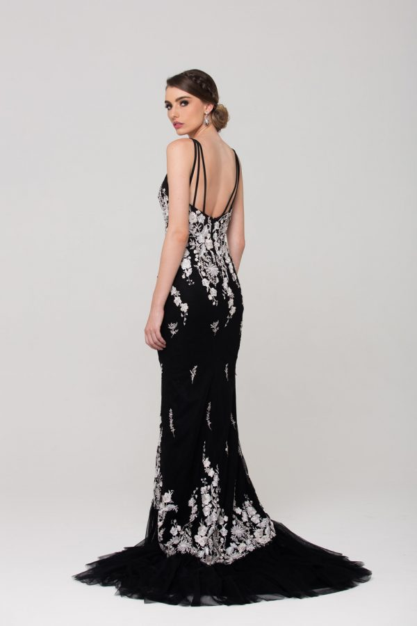 Allegra embroidered evening dress back