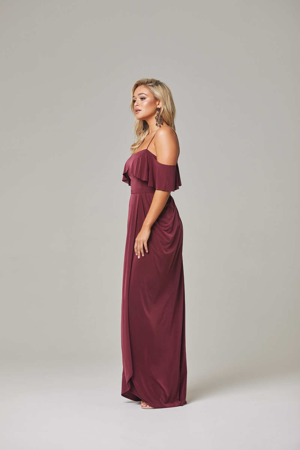 Arianna Bridesmaid Dress-Wine-side