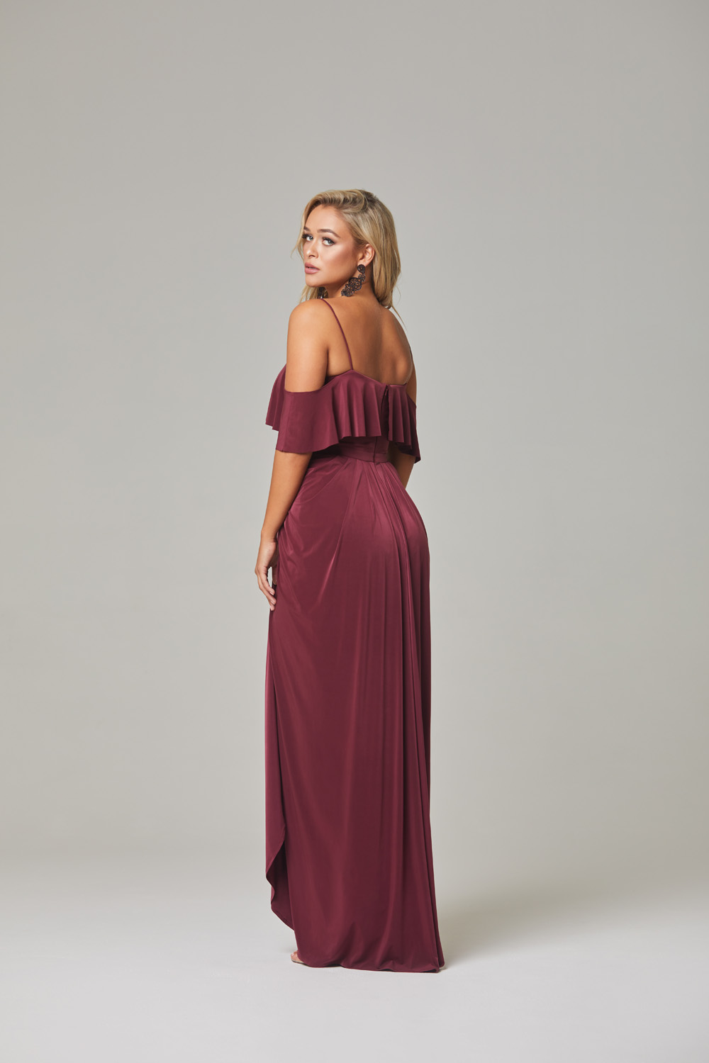Arianna Bridesmaid Dress-Wine-back